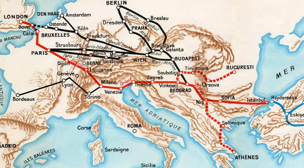 Route map for the Simplon Orient Express