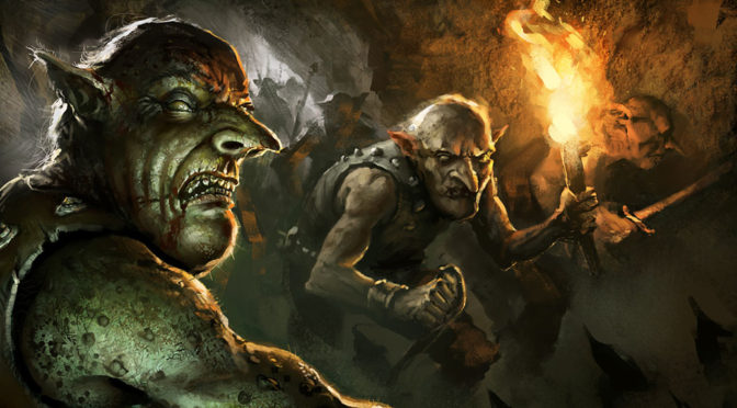 A goblin leers at the viewer in the foreground while another holds aloof a torch. The two are part of a goblin band making their way through an underground tunnel.