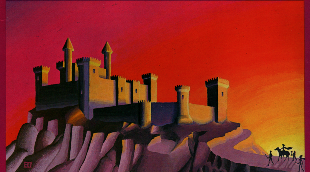 A lonely keep stands atop a mountain. The orange-black keep is rendered against the red sky of a sunset; in the foreground a group of adventures (possibly part of a caravan?) approach the keep.