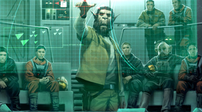 An alien Bothan points to a transparent grid while a group of soldiers and scouts looks on.