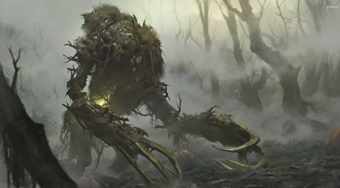 A large, plant-like humanoid stumbles out of a fog-filled swamp.