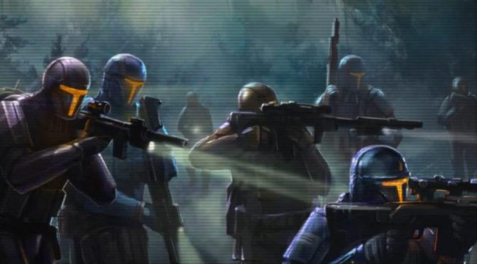 Battle armor wearing soldiers scout mist-filled terrain.