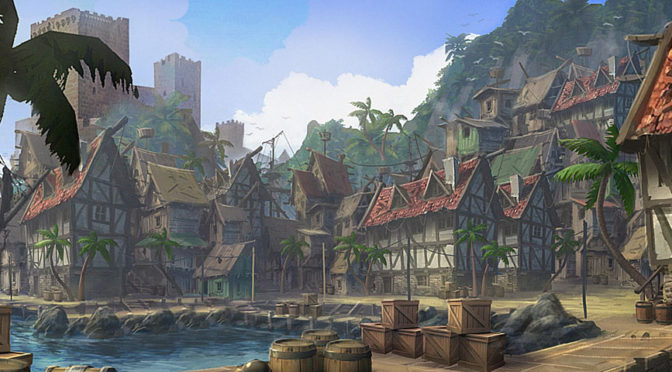 A subtropical pirate town on a water front.