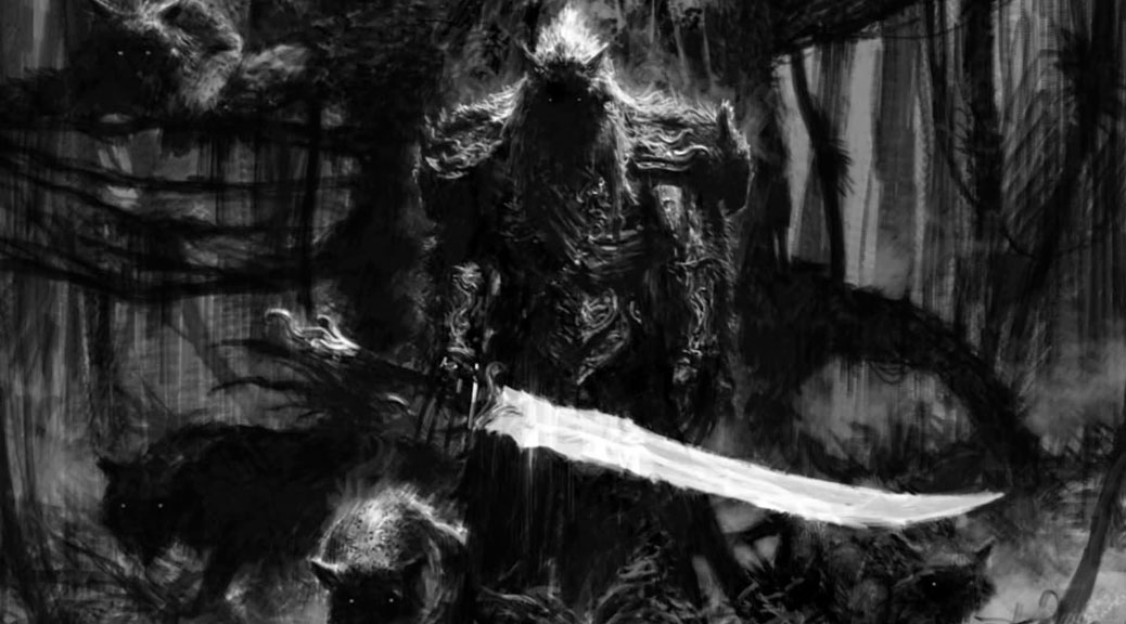 A black and white drawing of a menacing, cloaked warrior, large sword in his right hand, shadowy canines around him.