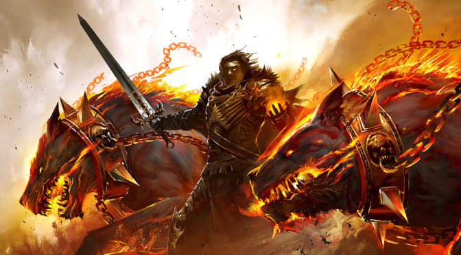 A fire giant hunts with two fire-breathing hell hounds