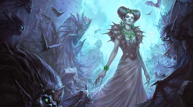 An undead queen surrounded by her wraith-like worshippers.