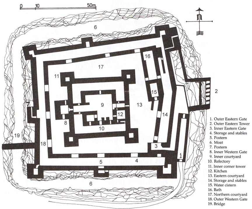 A black-and-white map of a medieval castle.